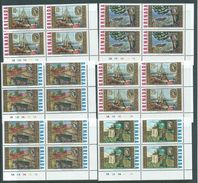 Grenada 1968 Churchill Paintings Set Of 6 MNH Plate Number Blocks Of 4 - Grenada (...-1974)