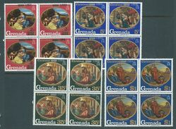 Grenada 1969 Christmas Overprint On 68 Paintings Set 4 MNH Blocks Of 4 - Grenada (...-1974)