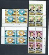 Grenada 1970 UPU Anniversary Set 4 MNH Blocks Of 4 - Grenada (...-1974)
