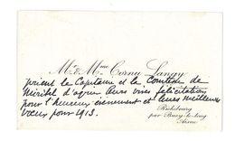 CARTE DE VISITE MR & MME CORNU LANGY RICHEBOURG PAR BUCY-LE-LONG 02 - Cartes De Visite