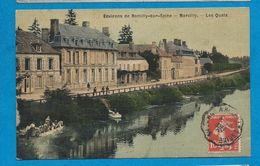 MARCILLY   Environs De Romilly Sur Seine  Les Quais   Lavandières        Animées    écrite En 1907 - France