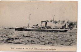 Cpa    BATEAU  LE CORSICA De La  Cie Mediterraneenne De Navigation Ajaccio Marseille  Au Dos Itineraire Et Tarif (rare) - Commerce