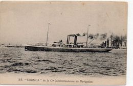 Cpa    BATEAU  LE CORSICA De La  Cie Mediterraneenne De Navigation Ajaccio Marseille  Au Dos Itineraire Et Tarif (rare) - Commercio
