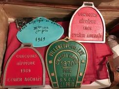 EQUITATION Lot De 4 Plaques Concours Hippique 1969 Et 1970 - Equitation