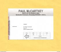 Ticket Concert Paul McCARTNEY : Back In The World 2003 : Sportpaleis Antwerpen : 02/04/2003 - Concert Tickets