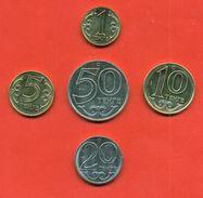 Kazakhstan 2017.Full Set Of Coin Kazakhstan.The Set Includes 1, 5, 10 And 20 Tenge Magnetic And 50 Tenge Non-magnetic. - Kazakhstan