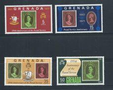 Grenada 1971 Postal Anniversary Stamp On Stamp Set 4 MNH - Grenada (...-1974)