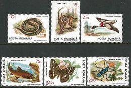 Romania 1993 Scott 3829-34 MNH Fauna - Ungebraucht