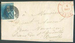 N°2 - Epaulette 20 Centimes Bleue, Touchée, Obl. P.117 S/L. De THUIN Le 6 Août 1850 Vers Bruxelles (facteur 2). Magnifiq - 1849 Epaulettes
