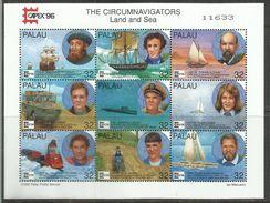 PALAU 1996 CAPEX 96 THE CIRCUMNAVIGATORS LAND AND SEA BLOCK SHEET BLOCCO  BLOC FUILLET FOGLIETTO MNH - Palau