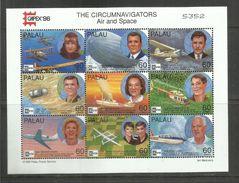PALAU 1996 CAPEX 96 THE CIRCUMNAVIGATORS AIR AND SPACE BLOCK SHEET BLOCCO  BLOC FUILLET FOGLIETTO MNH - Palau