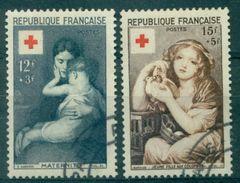 FRANCE N°1006 / 1007 CROIX ROUGE 1954 Oblitéré C à D Tb Cote : 26,50 € - France
