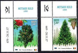 Estonia Estland Estonie 2017 (21) Estonia - Romania Joint Issue - Forest Species (with Number Of Issue) - Estonia