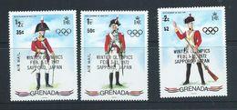Grenada 1972 Sapporo Olympic Games Overprint On Military Uniform Set Of 3 MNH - Grenada (...-1974)