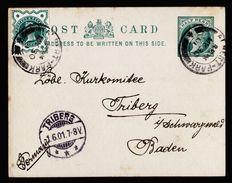 A5022) UK Uprated Postcard Manchester 05/30/01 To Germany - 1840-1901 (Viktoria)