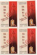 712z   Lot De 4 Cartes Parfumées Parfum Habanita Molinard - Perfume Cards