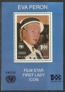 TOUVA (RUSSIA) 2000 UNICEF FILM STAR FIRST LADY ICON EVA EVITA PERON BLOCK SHEET BLOCCO FOGLIETTO BLOC FUILLET MNH - Touva