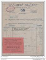 44 808 NANTES LOIRE INF 1942 ( Avec Ajouti GUERRE RATIONNEMENT )  BISCUITERIE NANTAISE BN Ets  COSSE -  LOTZ  ˆ  JOLLY - Food
