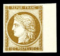 ** N°1, 10c Bistre-jaune, Grand Bord De Feuille Latéral, Fraîcheur Postale. SUPERBE. R. (signé Calves/certificats)   Qua - 1849-1850 Ceres