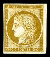 * N°1, 10c Bistre-jaune, TB, R (signé Calves/Brun/certificat)   Qualité: *   Cote: 2750 Euros - 1849-1850 Ceres