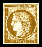* N°1, 10c Bistre-jaune, Forte Charnière Avec Manque De Gomme Sinon TB (signé Brun/certificat)   Qualité: *   Cote: 3000 - 1849-1850 Ceres