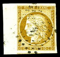 O N°1, 10c Bistre, Bord De Feuille Latéral, Pièce Choisie. SUP (signé Brun/certificat)   Qualité: O - 1849-1850 Ceres