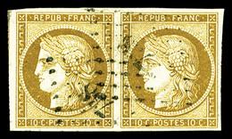 O N°1, 10c Bistre-jaune En Paire Horizontale Obl PC '738', Jolie Pièce, TTB (signé Brun/certificat)   Qualité: O   Cote: - 1849-1850 Ceres