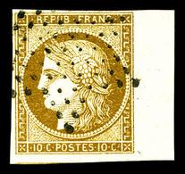 O N°1, 10c Bistre-jaune Obl étoile, Bord De Feuille. SUP (certificat)   Qualité: O - 1849-1850 Ceres