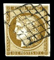 O N°1, 10c Bistre-jaune Obl Grille. TTB (signé Calves)   Qualité: O   Cote: 340 Euros - 1849-1850 Ceres