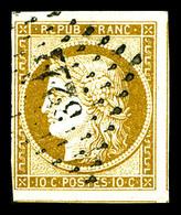 O N°1, 10c Bistre Obl Grille Obl Pc, TB (signé Calves)   Qualité: O   Cote: 355 Euros - 1849-1850 Ceres