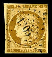 O N°1, 10c Bistre-jaune, Obl Légère. TB   Qualité: O   Cote: 340 Euros - 1849-1850 Ceres