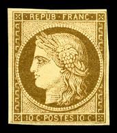 * N°1a, 10c Bistre-brun Foncé, RARE Et TB (certificat)   Qualité: *   Cote: 3250 Euros - 1849-1850 Ceres