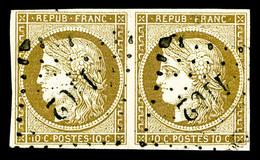 O N°1b, 10c Bistre-verdâtre En Paire Obl PC, SUP (signé Brun/Scheller/certificat)   Qualité: O   Cote: 1450 Euros - 1849-1850 Ceres