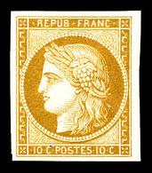 * N°1f, 10c Bistre, Impression De 1862, TTB (certificat)   Qualité: *   Cote: 650 Euros - 1849-1850 Ceres