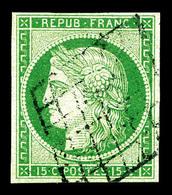O N°2, 15c Vert Obl Grille. TB (signé Calves/certificat)   Qualité: O   Cote: 1000 Euros - 1849-1850 Ceres