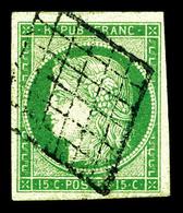 O N°2, 15c Vert Obl étoile. TTB (certificat)   Qualité: O   Cote: 1050 Euros - 1849-1850 Ceres