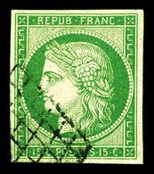 O N°2, 15c Vert Obl Grille. TB (signé Brun/certificat)   Qualité: O   Cote: 1000 Euros - 1849-1850 Ceres