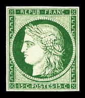 (*) N°2b, 15c Vert-foncé, Quatre Belles Marges Et Très Jolie Couleur, R.R.R (signé Calves/Brun/certificat)   Qualité: (* - 1849-1850 Ceres