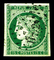 O N°2b, 15c Vert-foncé, Quatre Belles Marges, Superbe Nuance. TTB (signé Calves/certificat)   Qualité: O   Cote: 1200 Eu - 1849-1850 Ceres
