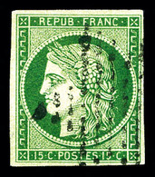 O N°2b, 15c Vert-foncé. TB (signé Calves/certificat)   Qualité: O   Cote: 1250 Euros - 1849-1850 Ceres