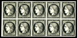 ** N°3, 20c Noir Sur Jaune, Bloc De 10 Exemplaires Dont Variété 'anneau De Lune' Sur Premier 'C' (4ème Timbre), Fraîcheu - 1849-1850 Ceres