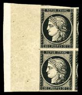 ** N°3, 20c Noir Sur Jaune En Paire (1ex*), Grand Bord De Feuille Latéral Avec Trois Voisins. SUPERBE (certificat)   Qua - 1849-1850 Ceres