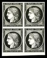 * N°3, 20c Noir En Bloc De Quatre, Bord De Feuille Inférieur, SUP (signé Calves/certificat)   Qualité: *   Cote: 2600 Eu - 1849-1850 Ceres