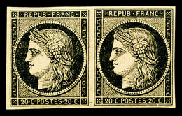 * N°3, 20c Noir Sur Jaune En Paire Horizontale. TTB (certificat)   Qualité: *   Cote: 1200 Euros - 1849-1850 Ceres