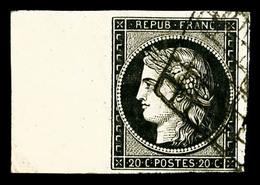 O N°3, 20c Noir Sur Jaune, Grand Bord De Feuille Latéral, SUPERBE (certificat)   Qualité: O - 1849-1850 Ceres