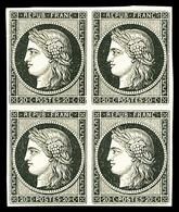 * N°3a, 20c Noir Sur Blanc En Bloc De Quatre, TTB (signé Calves/certificat)   Qualité: *   Cote: 3250 Euros - 1849-1850 Ceres