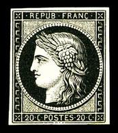 * N°3a, 20c Noir Sur Blanc. TB (signé/certificat)   Qualité: *   Cote: 650 Euros - 1849-1850 Ceres