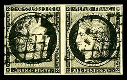 O N°3d, 20c Noir Sur Jaune En Paire Tête-bêche Horizontale, TB (signé Calves/Scheller/certificat)   Qualité: O   Cote: 8 - 1849-1850 Ceres