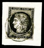 O N°3, 20c Noir Sur Jaune Obl Càd Du 2 Janvier 1849 Sur Petit Fragment, TB (signé Brun/certificat)   Qualité: O   Cote:  - 1849-1850 Ceres