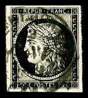 O N°3, 20c Noir Obl Moyen Càd T14 Du 2 Janvier 1849. TTB. R. (signé Calves/certificat)   Qualité: O   Cote: 1000 Euros - 1849-1850 Ceres